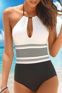 WanaDress Halter Cutout Back Striped One Piece Swimwear