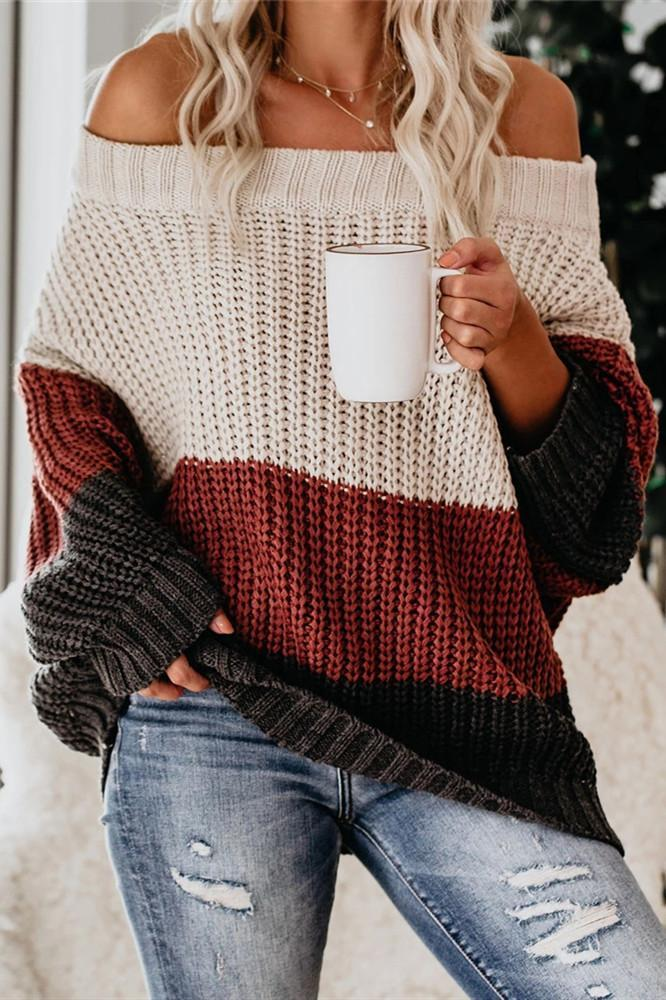 Wnadress Off The Shoulder Colorblock Sweater