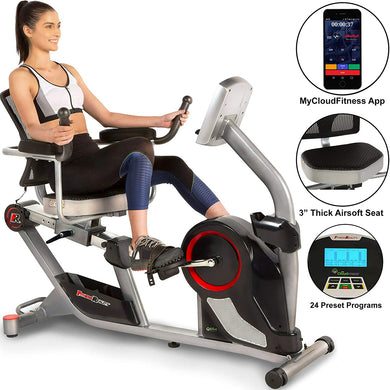 Fitness Reality X-Class 450SL Bluetooth Smart Technology Magnetic Recumbent Exercise Bike with 24 Workout Programs and Free App