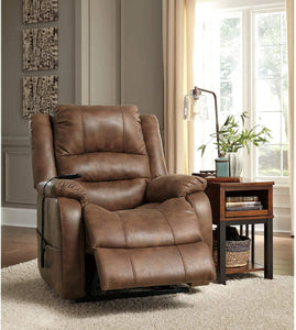 Signature Design by Ashley Yandel Upholstered Power Lift Recliner for Elderly, Brown
