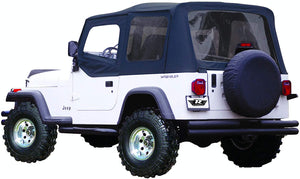 RAMPAGE PRODUCTS 68215 Complete Soft Top with Frame & Hardware for 1987-1995 Jeep Wrangler YJ, with Soft Upper Doors, Black Diamond w/Tinted Windows