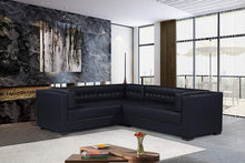 Load image into Gallery viewer, Iconic Home Lorenzo Left Facing Sectional Sofa L Shape PU Leather Upholstered Tufted Shelter Arm Design Espresso Finished Wood Legs Modern Transitional, Black