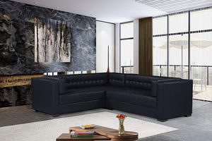 Iconic Home Lorenzo Left Facing Sectional Sofa L Shape PU Leather Upholstered Tufted Shelter Arm Design Espresso Finished Wood Legs Modern Transitional, Black