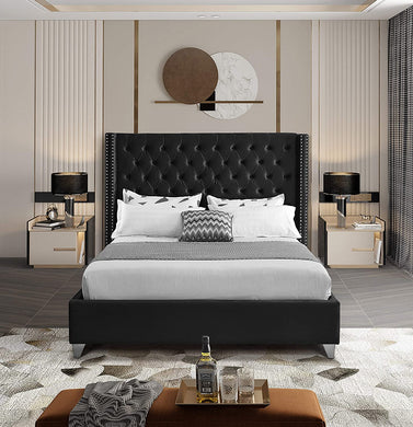 Meridian Furniture AidenCream-K Aiden Collection Modern bed COLOR IS CREAM and THIS IS KING SIZE