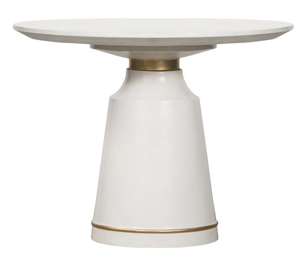 Armen Living Pinni White Concrete Round Dining Table with Bronze Painted Accent, 39