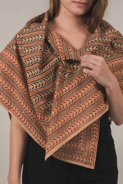 NOST block-printed naturally dyed scarf