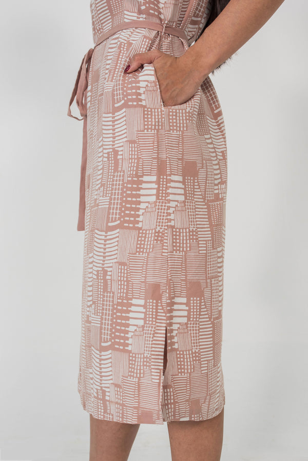 Frances Dress in City Print Blush