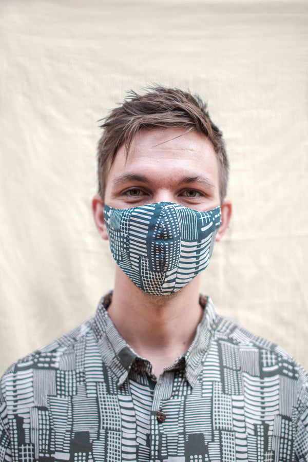 Batik Mask in City Print Green