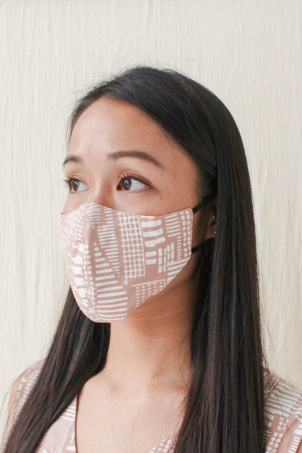 Batik Mask in City Print Blush