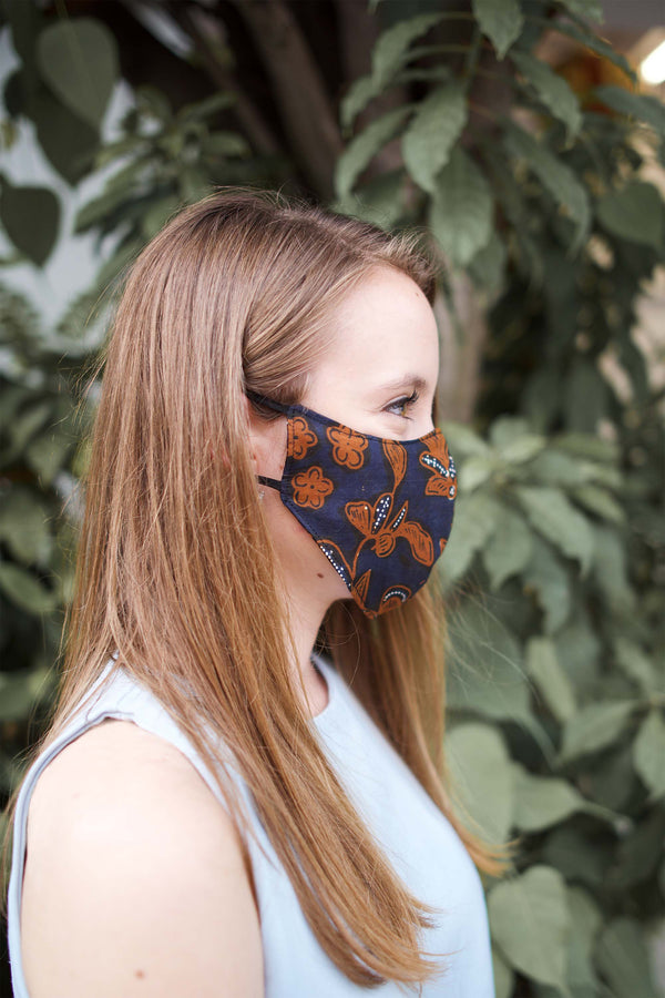 Batik Mask & Pouch in Navy