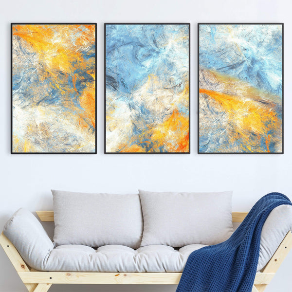 Abstract Blue Canvas Art Set of 3 / 40 x 60cm / No Board - Canvas Print Only Clock Canvas