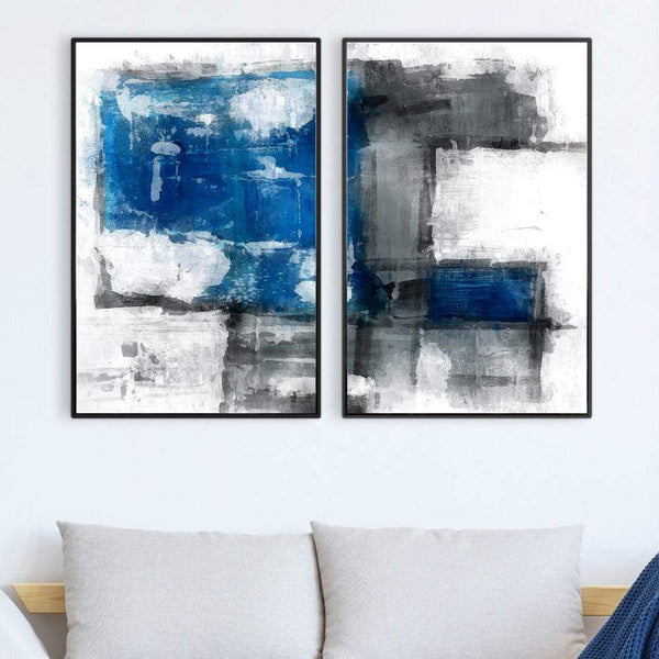 Abstract Iceberg Canvas Art Set of 2 / 40 x 50cm / No Board - Canvas Print Only Clock Canvas