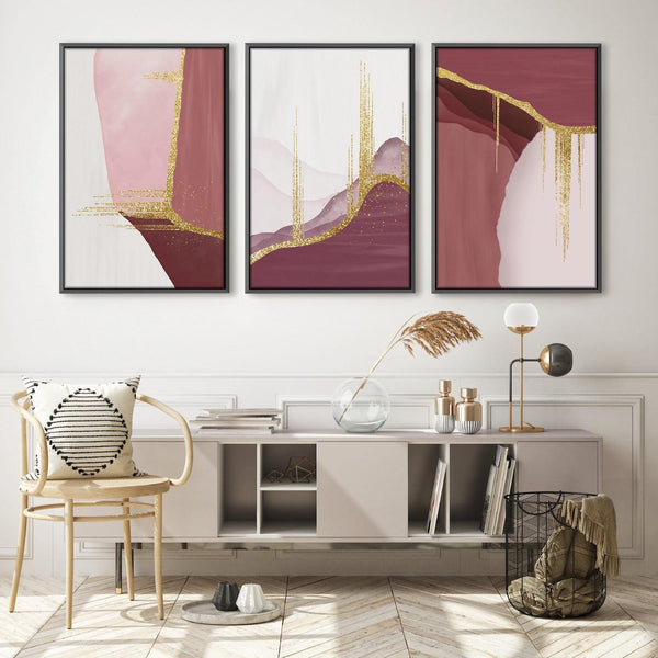 Abstract Rouge Canvas Art Set of 3 / 40 x 50cm / Unframed Canvas Print Clock Canvas