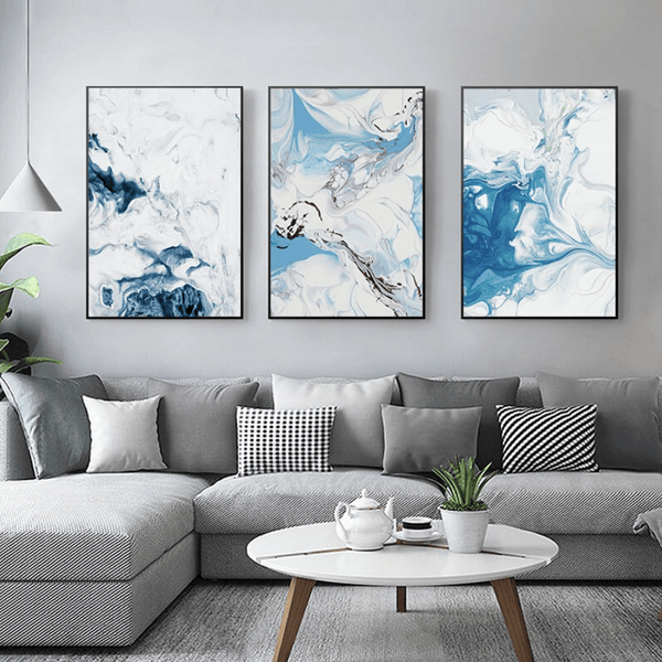 Abstract Waters Canvas Art Set of 3 / 40 x 50cm / No Board - Canvas Print Only Clock Canvas