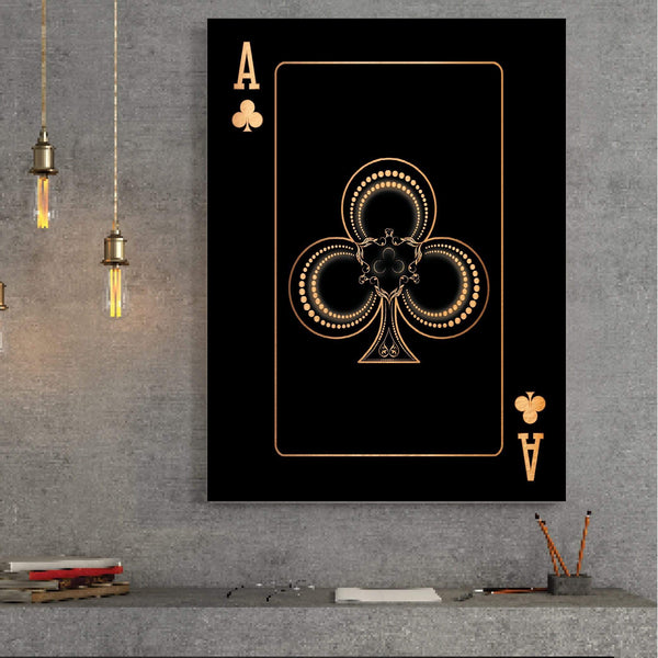 Ace of Clubs - Gold Clock Canvas