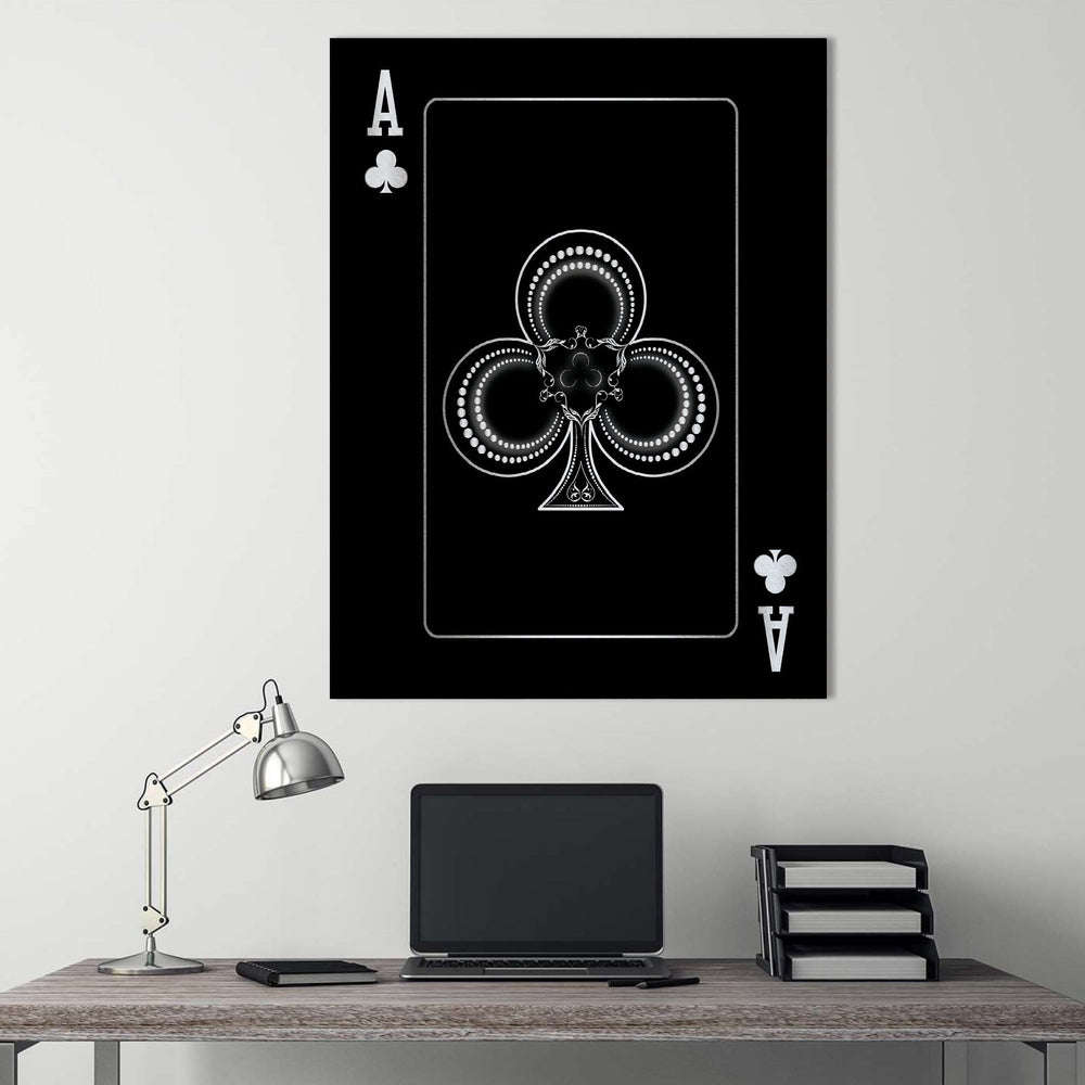 Ace of Clubs - Silver Clock Canvas