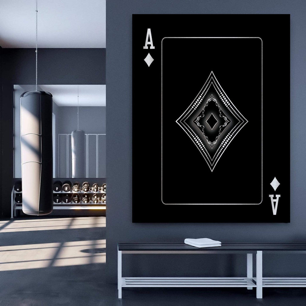 Ace of Diamonds - Silver Clock Canvas
