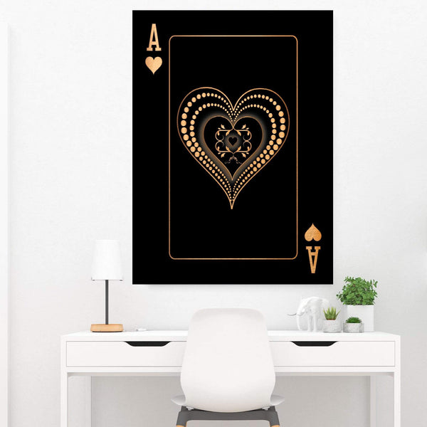 Ace of Hearts - Gold Clock Canvas