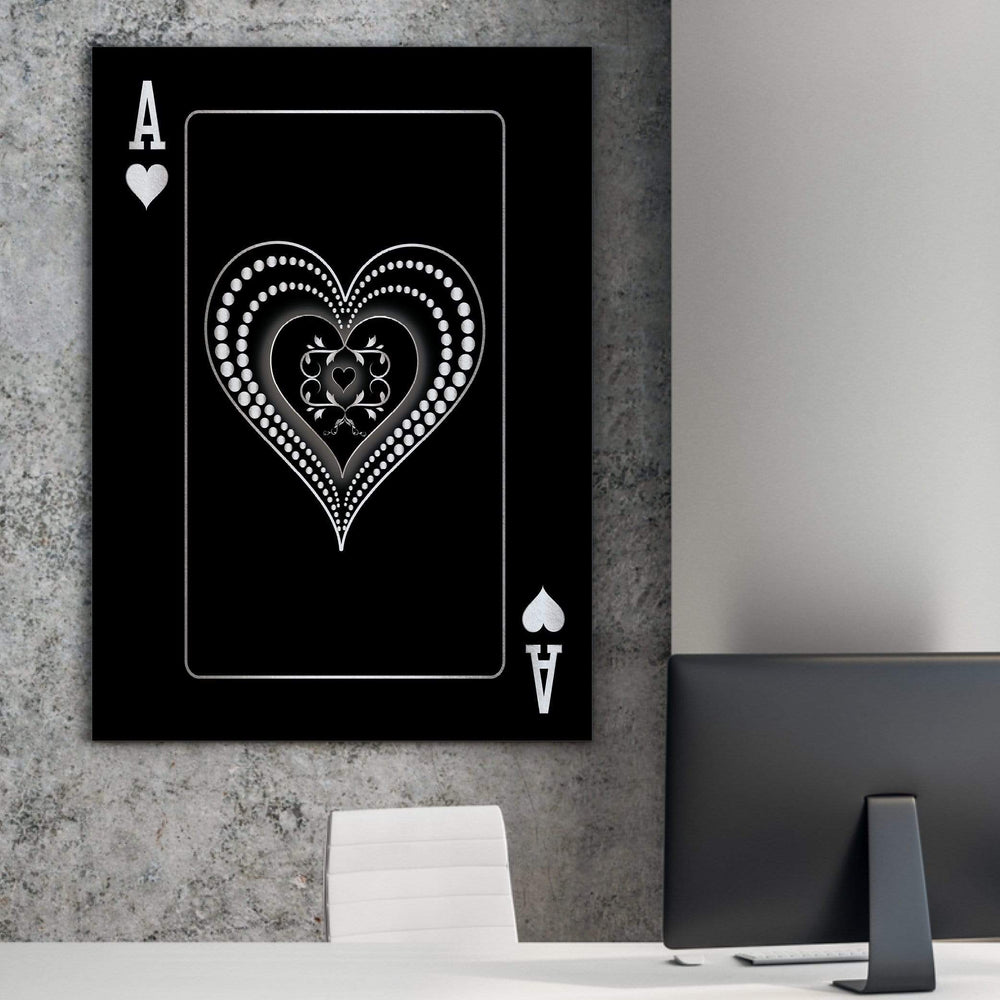 Ace of Hearts - Silver Clock Canvas