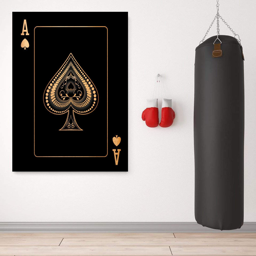 Ace of Spades - Gold Clock Canvas