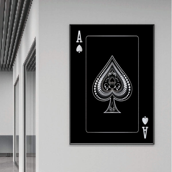 Ace of Spades - Silver Clock Canvas