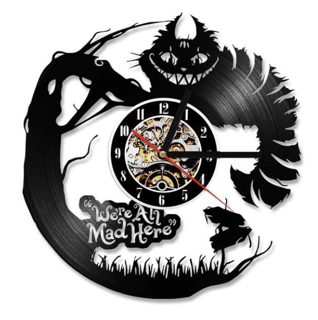 Alice in Wonderland Vinyl Clock Clock Canvas