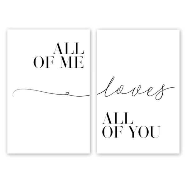 All of Me Canvas Art Set of 2 / 40 x 50cm / No Board - Canvas Print Only Clock Canvas