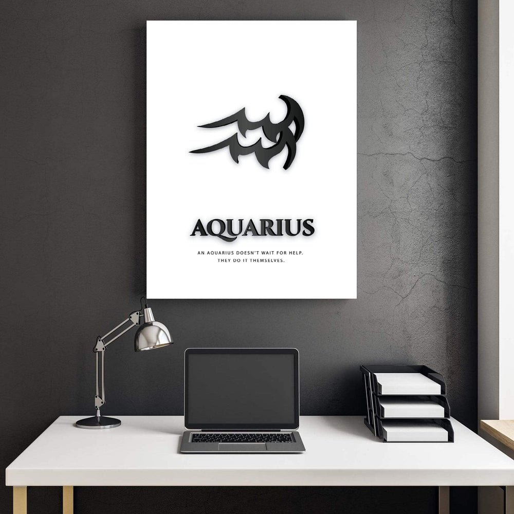 Aquarius - Black Clock Canvas