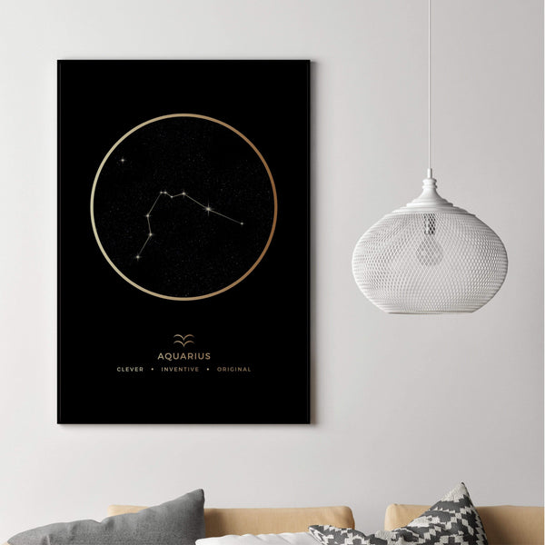Aquarius Traits Gold Canvas Art Clock Canvas