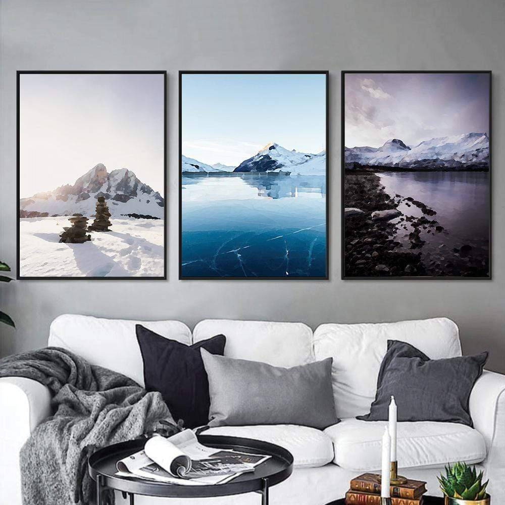 Arctic Landscape Canvas Art Set of 3 / 40 x 50cm / No Board - Canvas Print Only Clock Canvas