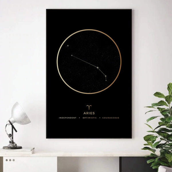 Aries Traits Gold Canvas Art Clock Canvas