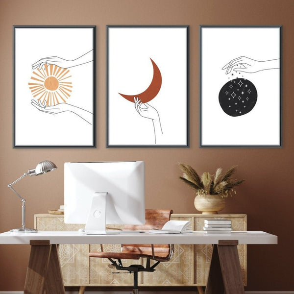 Aura Hands Canvas Art Set of 3 / 40 x 50cm / Unframed Canvas Print Clock Canvas