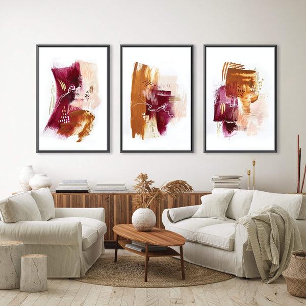 Autumnal Bliss Canvas Art Set of 3 / 40 x 50cm / No Board - Canvas Print Only Clock Canvas