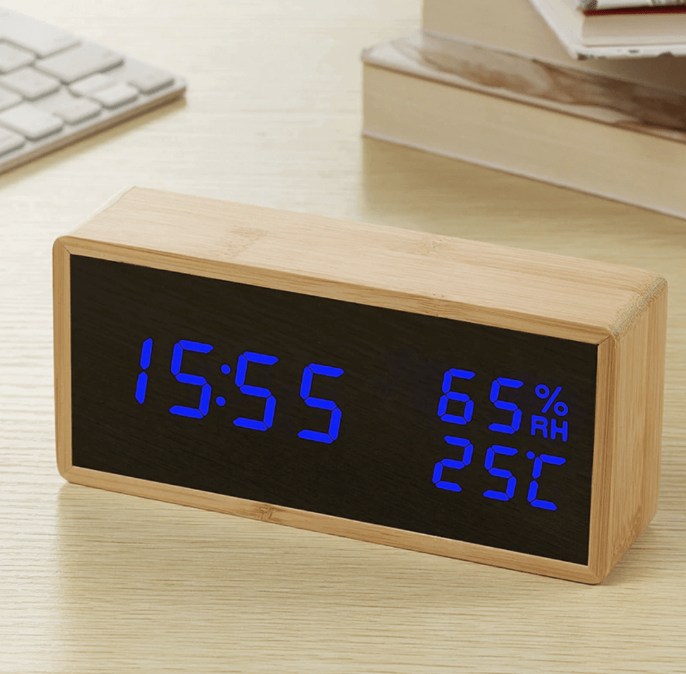 Bamboo Elis Blue Clock Canvas