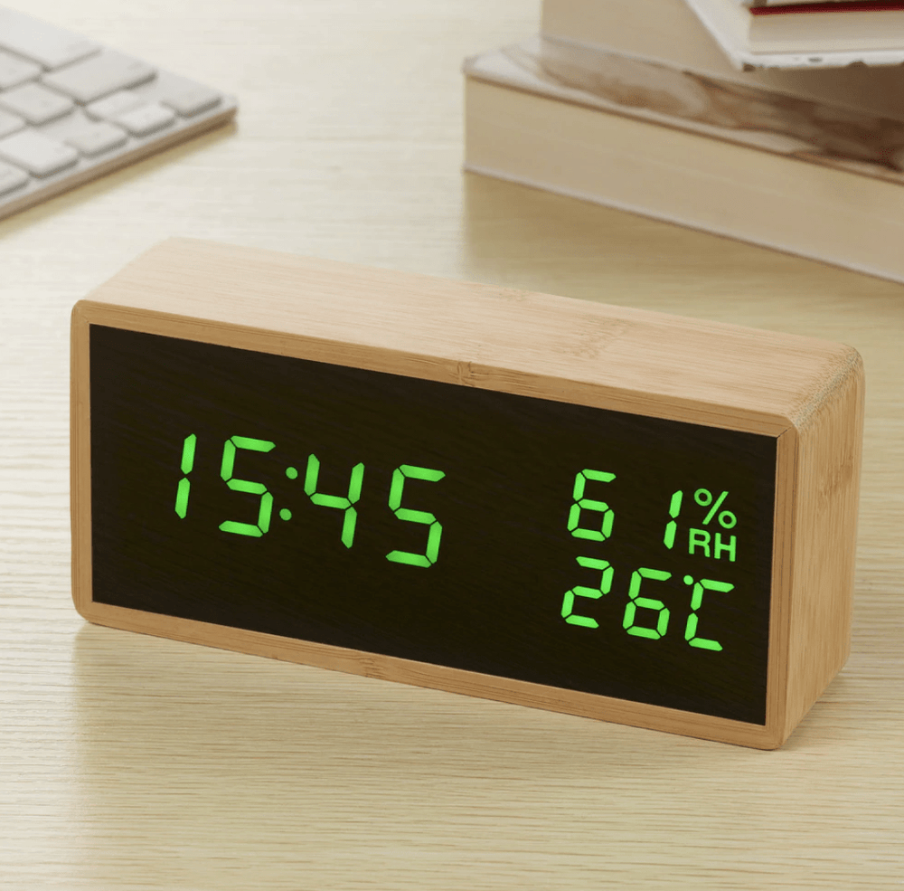 Bamboo Elis Green Clock Canvas