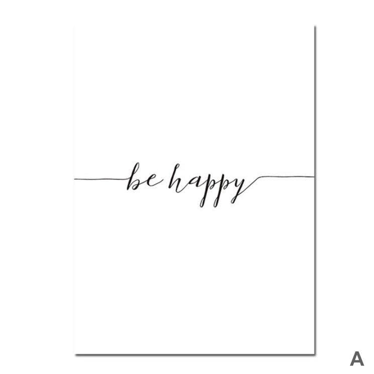 Be Happy Canvas Art A / 40 x 50cm / No Board - Canvas Print Only Clock Canvas