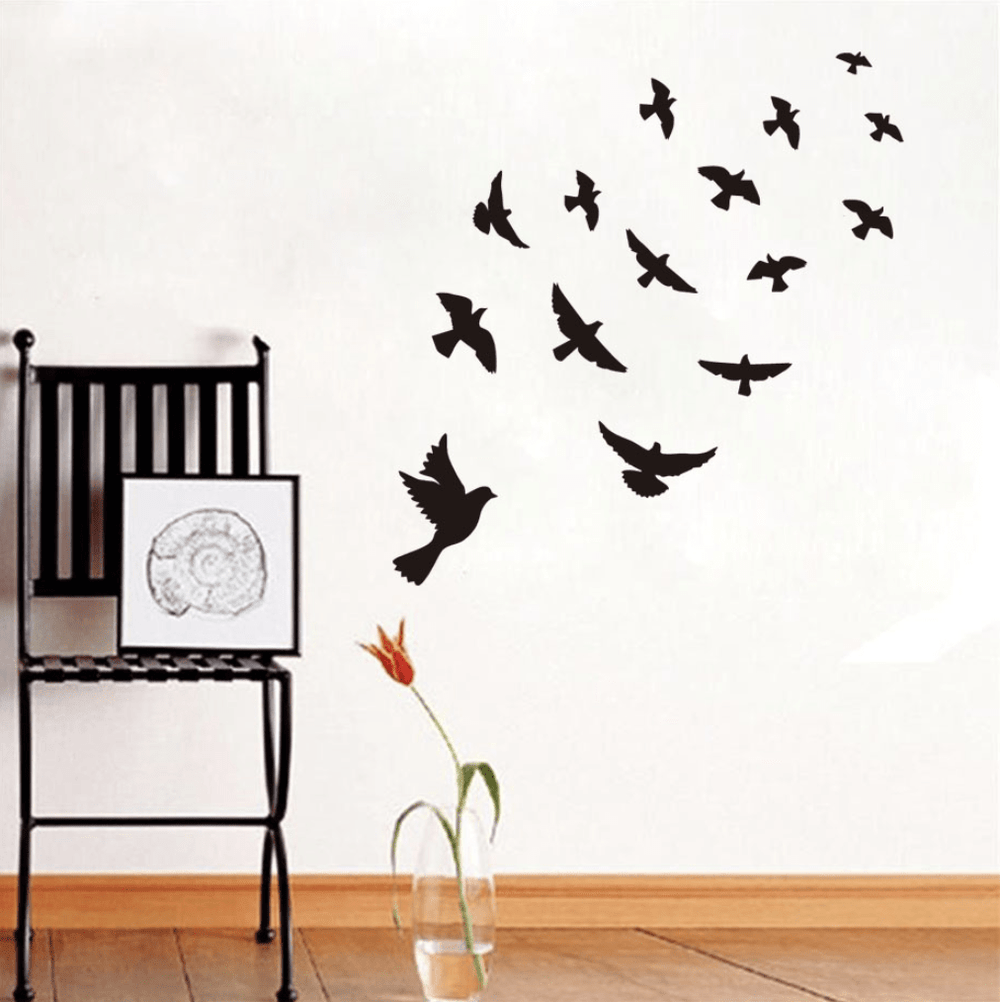Birds Wall Sticker Clock Canvas