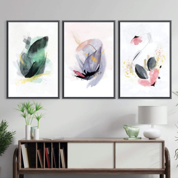 Blooming Abstract Canvas Art Set of 3 / 40 x 50cm / Unframed Canvas Print Clock Canvas