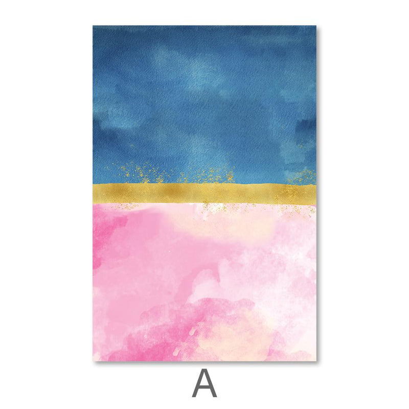 Blue Meets Pink Canvas Art A / 40 x 50cm / No Board - Canvas Print Only Clock Canvas