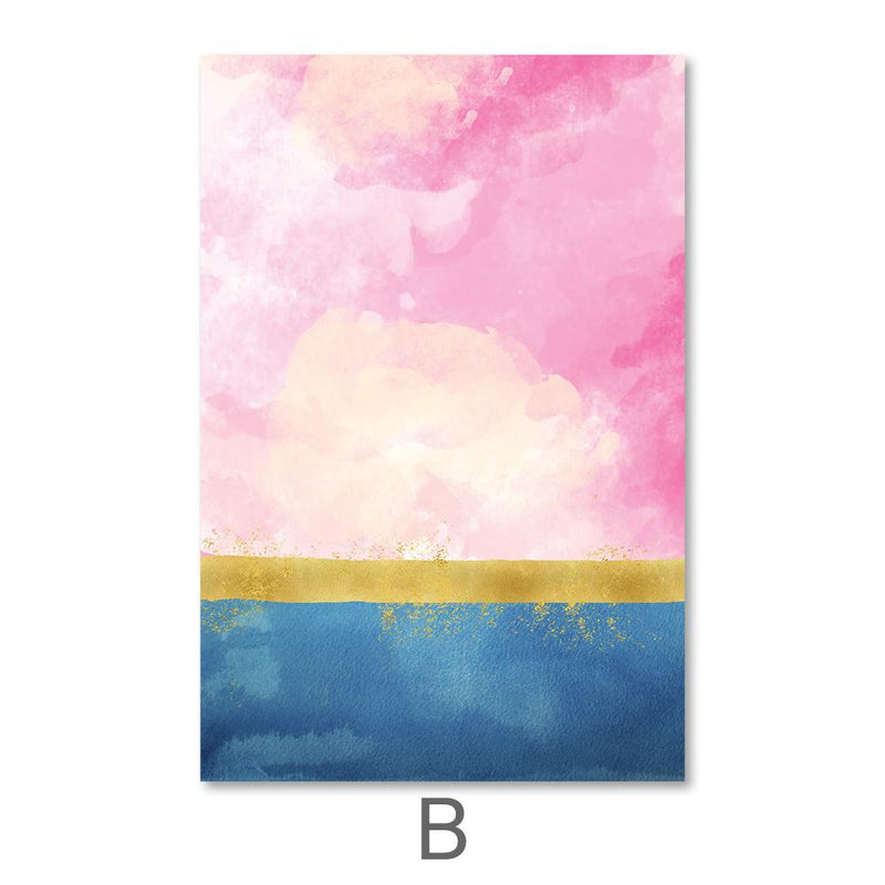 Blue Meets Pink Canvas Art B / 40 x 50cm / No Board - Canvas Print Only Clock Canvas