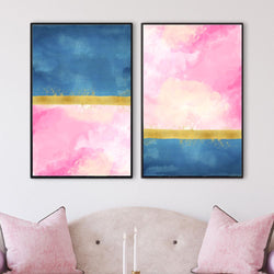 Blue Meets Pink Canvas Art Set of 2 / 40 x 50cm / No Board - Canvas Print Only Clock Canvas
