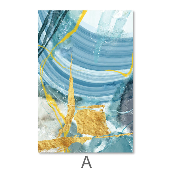 Blue Yellow Abstract Canvas Art A / 40 x 50cm / No Board - Canvas Print Only Clock Canvas