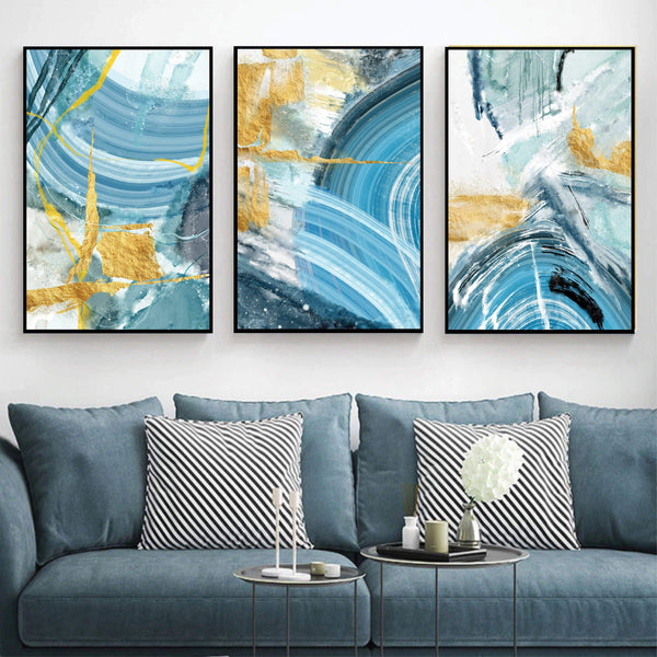 Blue Yellow Abstract Canvas Art Set of 3 / 40 x 50cm / No Board - Canvas Print Only Clock Canvas