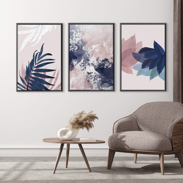 Blush Water Canvas Art Set of 3 / 40 x 50cm / No Board - Canvas Print Only Clock Canvas