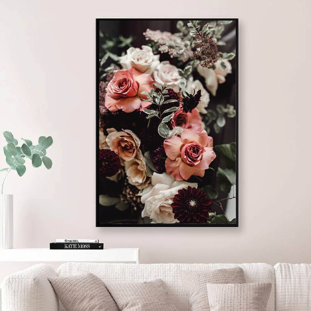 Bouquet of Flowers Canvas Art Clock Canvas