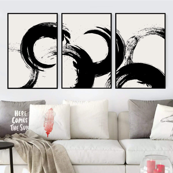 Brushed Waves Canvas Art Set of 3 / 40 x 50cm / No Board - Canvas Print Only Clock Canvas