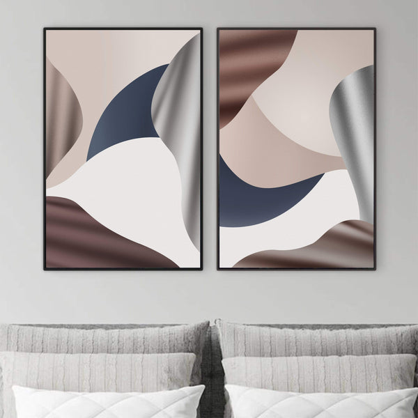 Calm Flow Canvas Art Set of 2 / 40 x 50cm / No Board - Canvas Print Only Clock Canvas