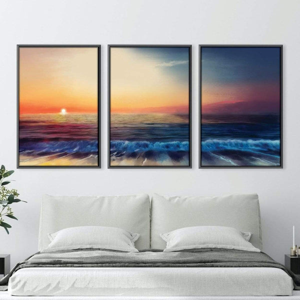 Calm Shores Canvas Art Set of 3 / 40 x 50cm / Unframed Canvas Print Clock Canvas