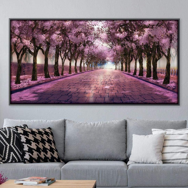 Cherry Blossom Strolls Canvas Art Clock Canvas