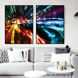 City Light Trails Canvas Art Set of 2 / 40 x 50cm / No Board - Canvas Print Only Clock Canvas